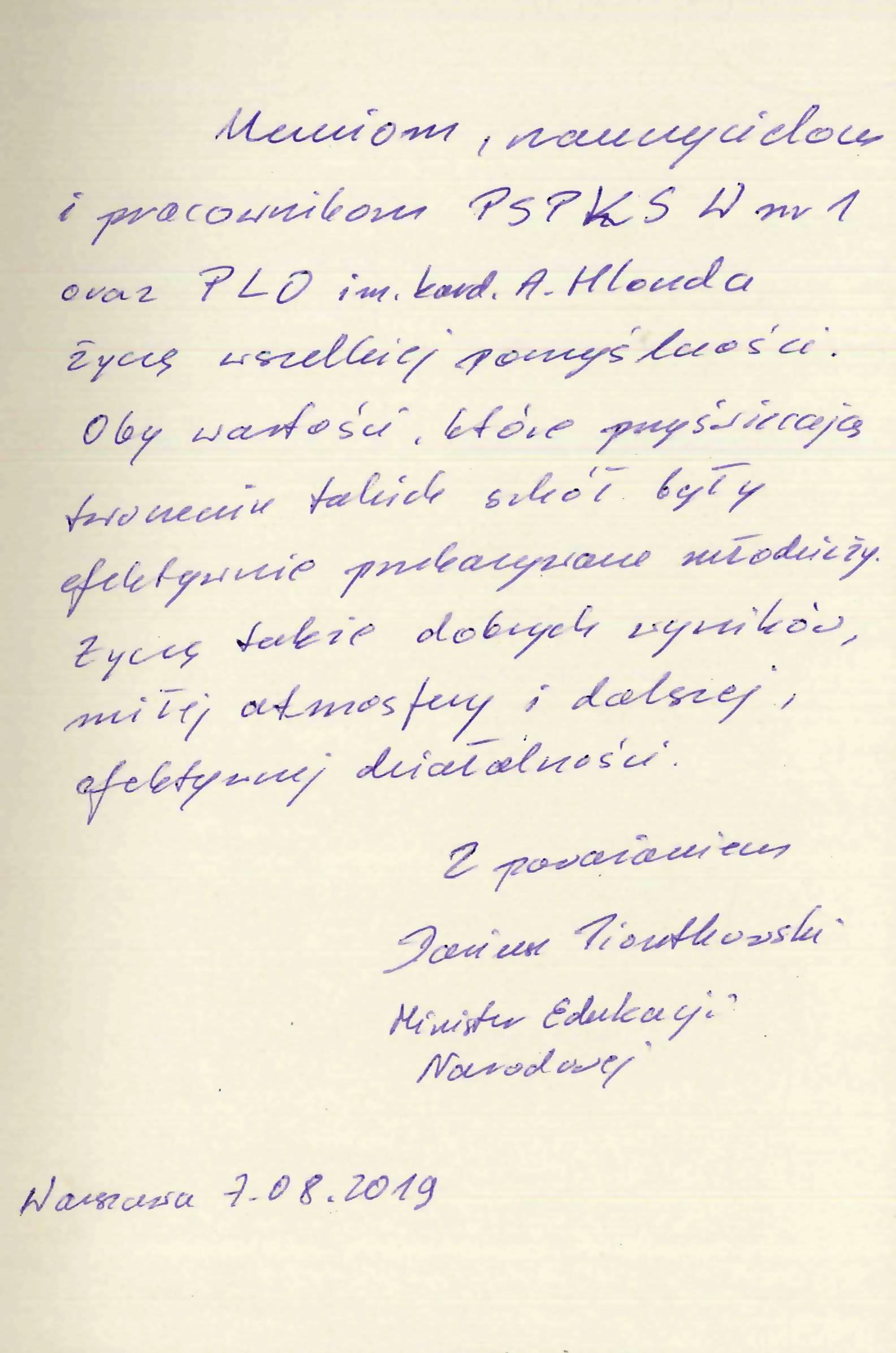 Życzenia od Ministra Edukacji Narodowej Dariusza Piontkowskiego